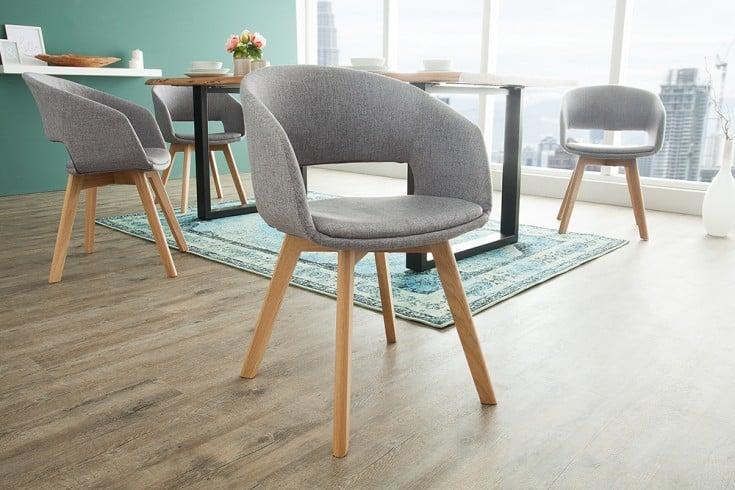 Design Stuhl NORDIC STAR grau mit Eichenholz Beinen Scandinavian Design
