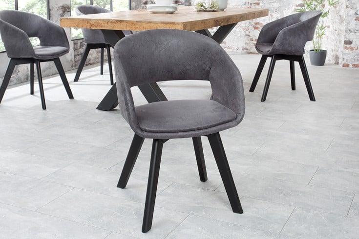 Design Stuhl NORDIC STAR antik grau Holz Beine Industrial Stil
