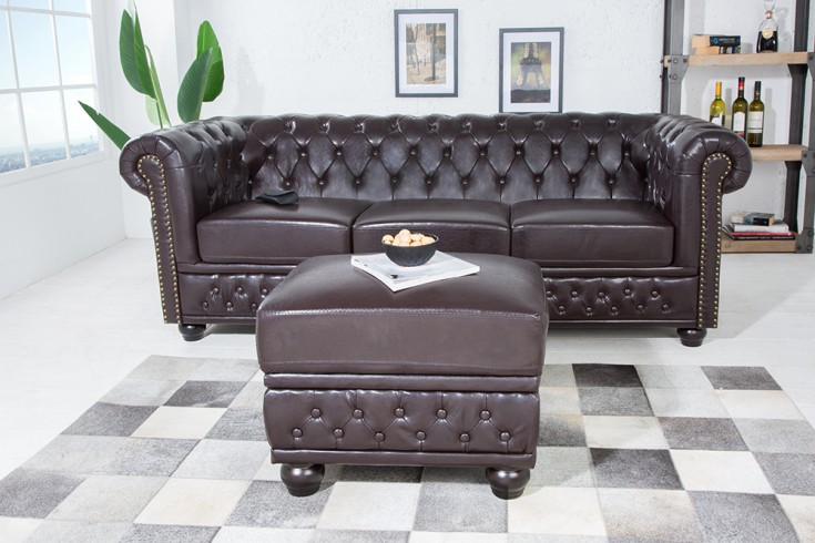 Edler Design Chesterfield Fußhocker braun