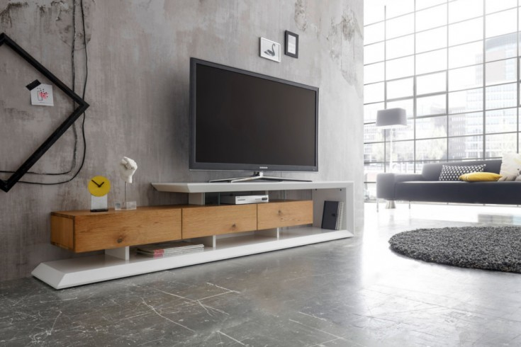 Modernes TV-Lowboard EMELA 198cm edelmatt weiß Asteiche massiv