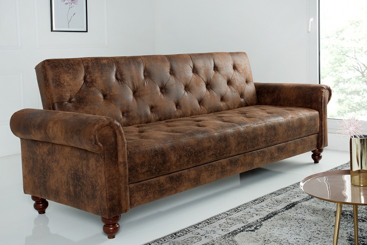 Design Sofa MAISON BELLE AFFAIRE 225cm antik braun Schlaffunktion Chesterfield