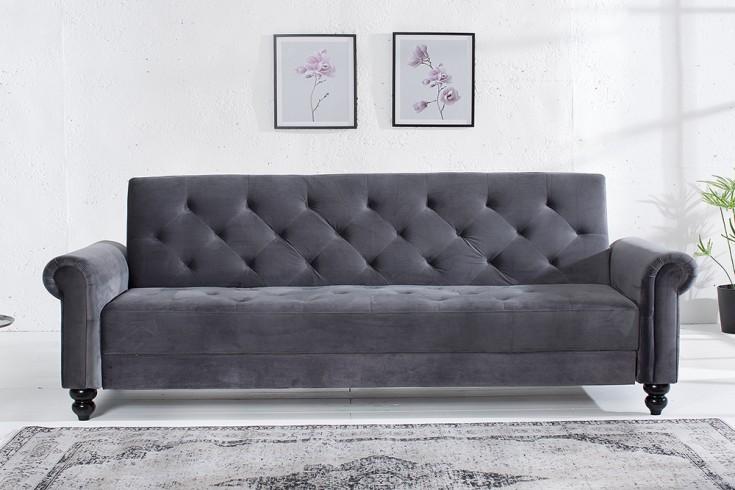Design Sofa MAISON BELLE AFFAIRE 225cm grau Samt Schlaffunktion Chesterfield