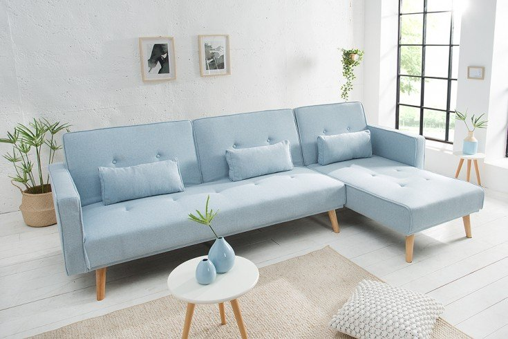 modernes ecksofa nordic 265cm pastellblau scandinavian design schlafsofa riess. Black Bedroom Furniture Sets. Home Design Ideas