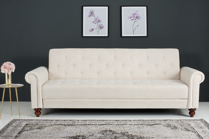 Design Sofa MAISON BELLE AFFAIRE 220cm beige Schlaffunktion Chesterfield