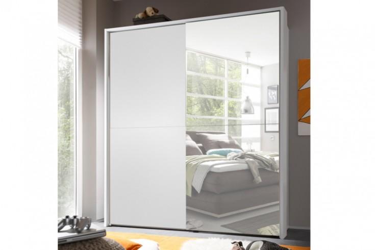 Moderner Schwebetüren Kleiderschrank YORK Alpinweiß 170cm mit Spiegel