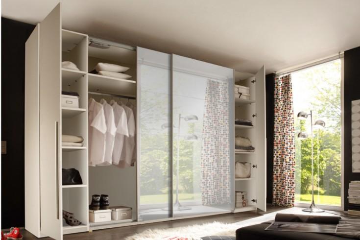 Großer Design Schwebetürenschrank BROOKLYN 315cm weiß Kleiderschrank