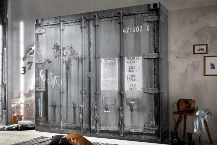Moderner Kleiderschrank RUSTIKAL 240cm in Container-Optik grau Industrial
