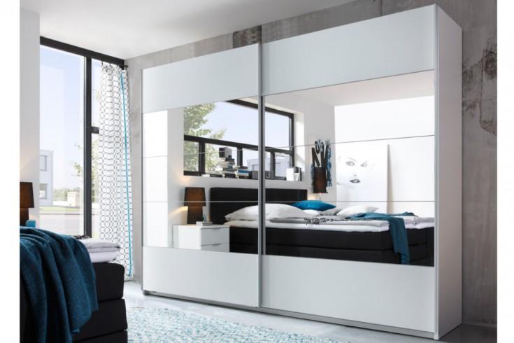 Moderner Kleiderschrank LOFT 270cm weiß mit Spiegel Schwebetürenschrank