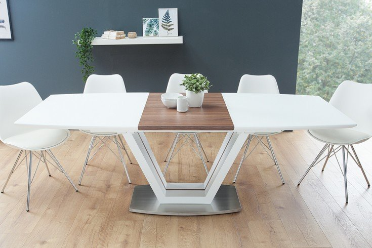 Design Esstisch LOFT ausziehbar 160-220cm edelmatt weiß Walnuss