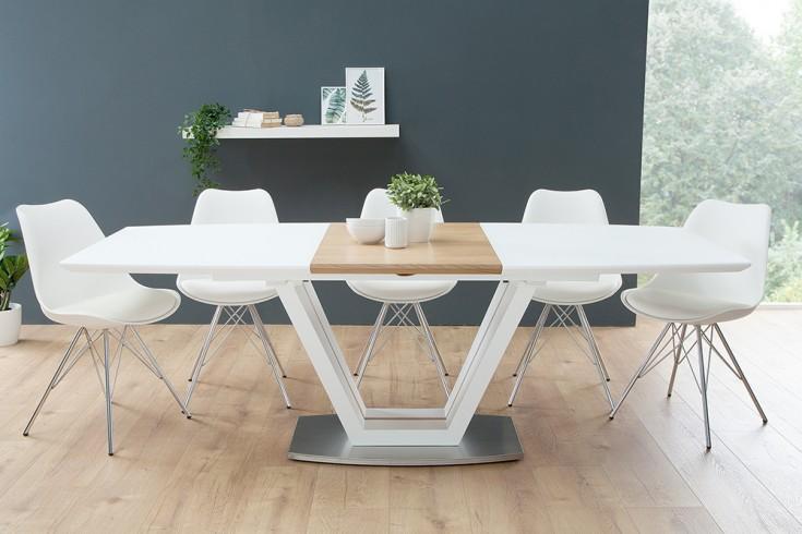 Design Esstisch LOFT ausziehbar 160-220cm edelmatt weiß Eiche