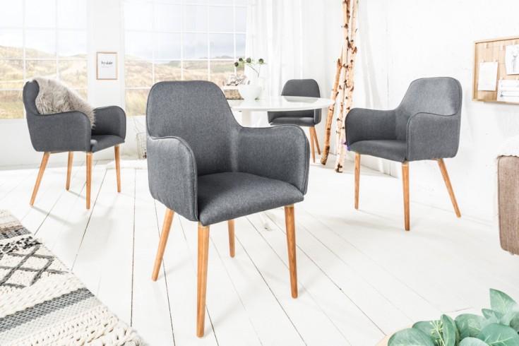 Exklusiver Design Armlehnstuhl OSLO dunkelgrau mit Eiche Füßen