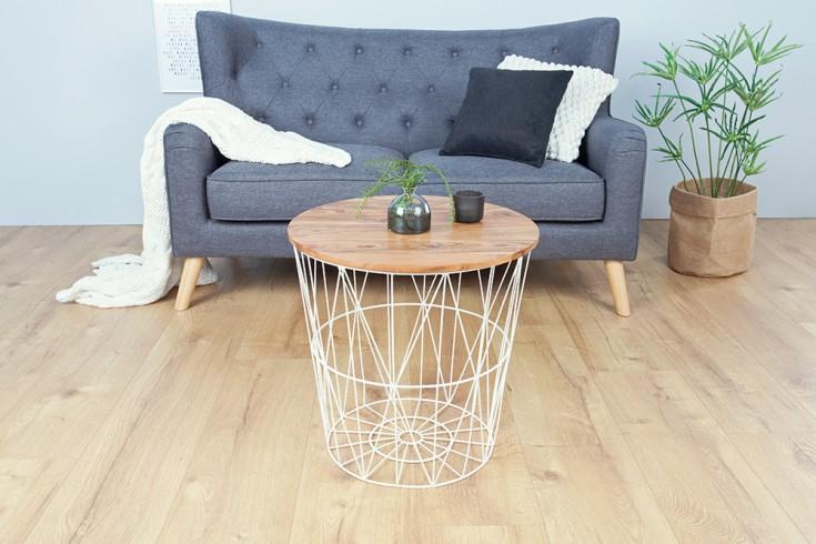 moderner couchtisch beistelltisch storage 52cm wei aufbewahrungskorb mit akazienholz ablage. Black Bedroom Furniture Sets. Home Design Ideas