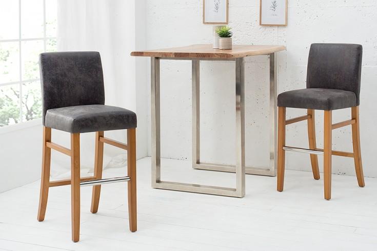 Edler Barstuhl VALENTINO vintage grau mit Massivholzbeine Barhocker