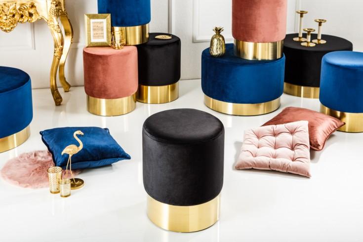 Eleganter Sitzhocker MODERN BAROCK 35cm Samt schwarz gold Couchtisch