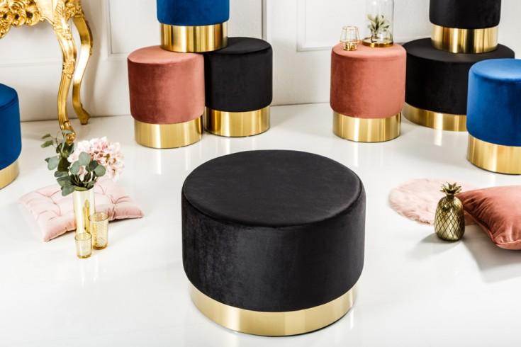 Eleganter Couchtisch MODERN BAROCK Samt schwarz gold Hocker