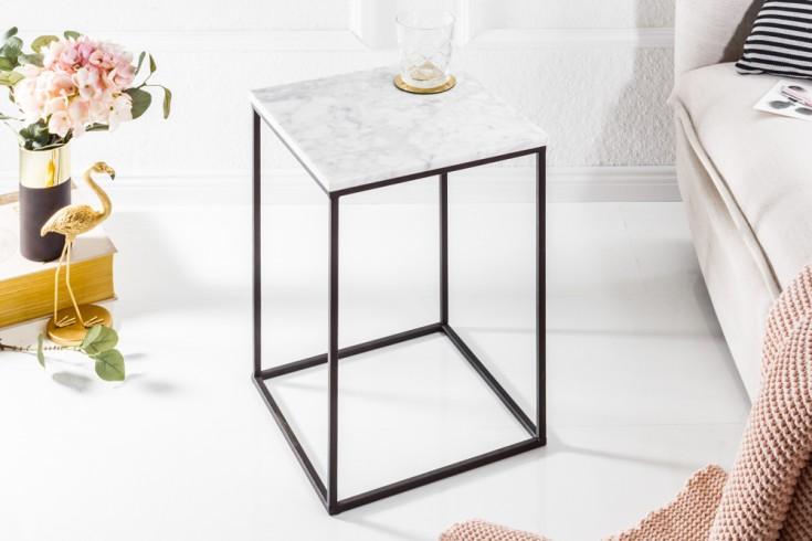 Eleganter Beistelltisch NOBLE IV 30cm Marmor Tisch weißer Marmor