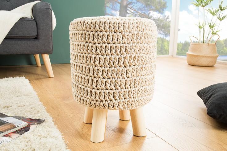 Design Sitzhocker LEEDS 41cm weiß aus Strick Baumwolle Handarbeit