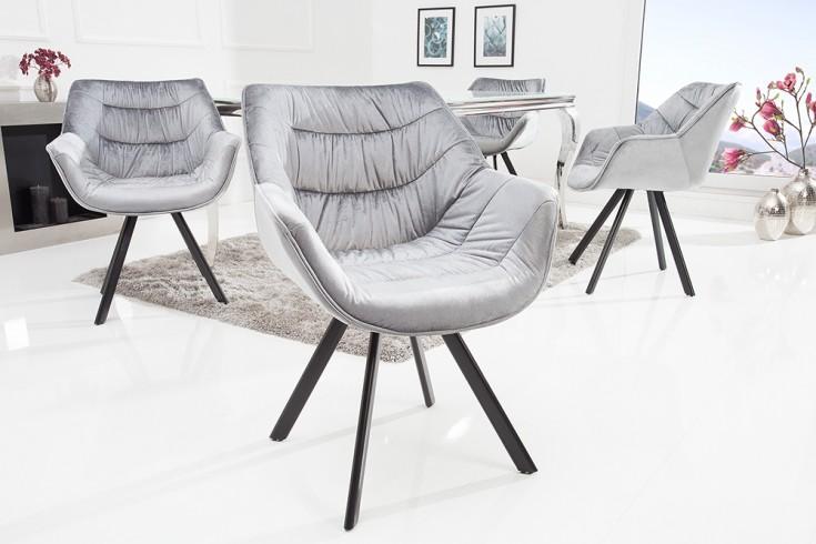 Design Stuhl THE DUTCH COMFORT grau Samt Retro Stil mit Armlehnen
