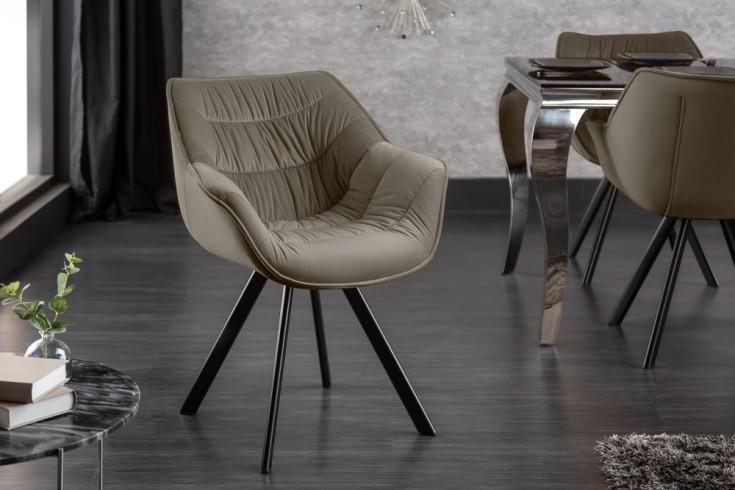 Design Stuhl THE DUTCH COMFORT champagner greige Samt Retro Stil mit Armlehnen