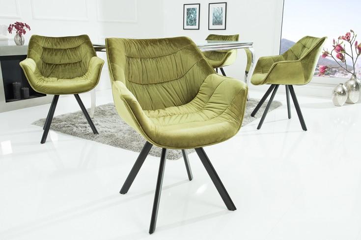 Design Stuhl THE DUTCH COMFORT Samt grün hochwertig gepolstert mit Armlehne