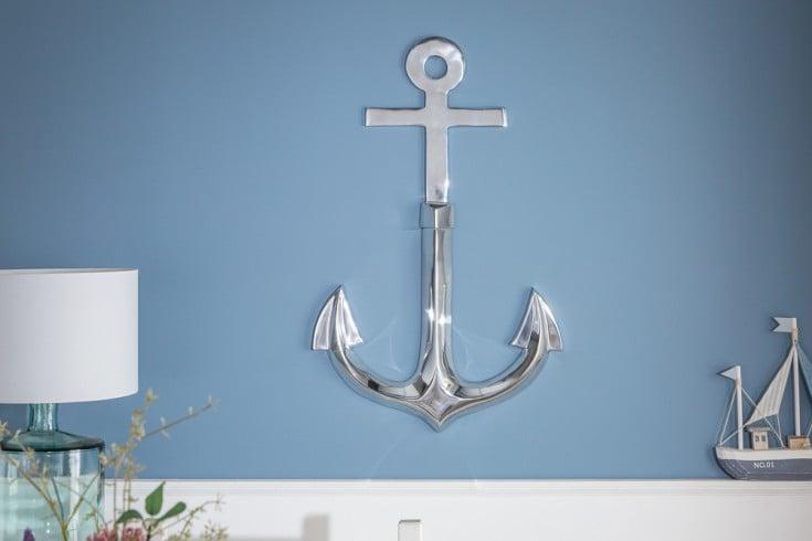 Maritime Wanddekoration ANCHOR 70cm silber 3D Anker