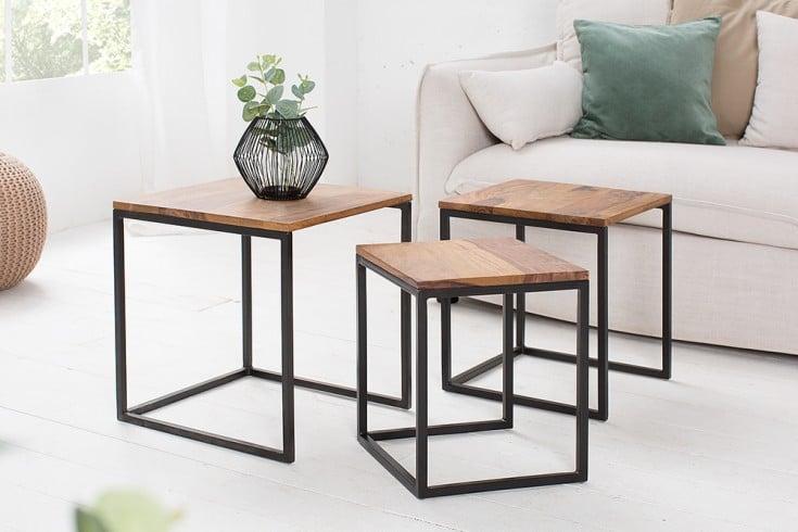 Design Beistelltisch 3er Set ELEMENTS 40cm Sheesham Metallgestell schwarz