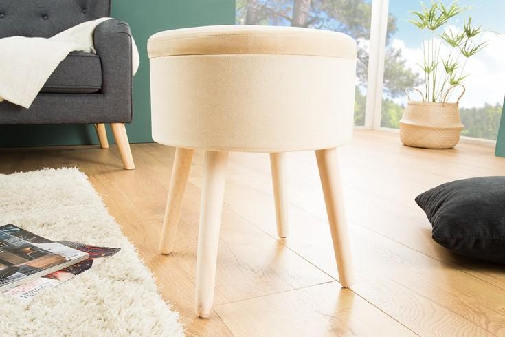 Design Sitzhocker MULTI TALENT beige mit Aufbewahrungsfach Samt