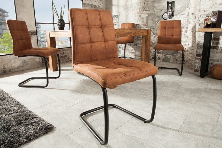 Moderner Freischwinger Stuhl MODENA hellbraun Designsteppung