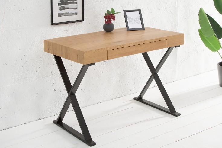 Design Schreibtisch GRACE 100cm edelmatt schwarz Eiche mit Schublade