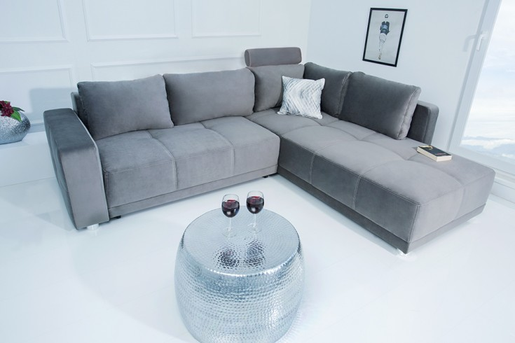 Edles Ecksofa COZY 257cm anthrazit Samt Bettfunktion Federkern