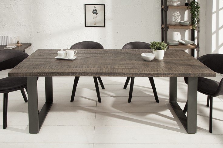 Design Esstisch IRON CRAFT 180cm Mangoholz grau Eisen Industrial Design