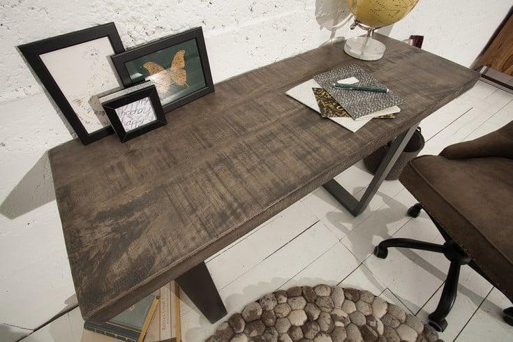 Design Konsolentisch IRON CRAFT 115cm Mangoholz grau Eisen Schreibtisch