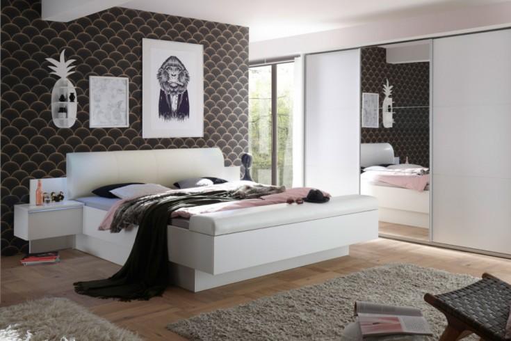 Modernes Bett STUDIO 180x200cm weiß inkl. Nachtkommoden und Bettkasten