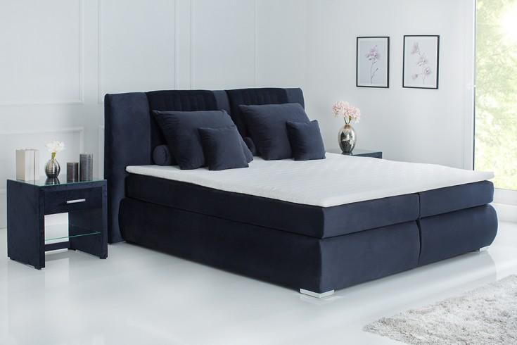 Elegantes Boxspringbett COZY VELVET 180x200cm dunkelblau Samt inkl. Bettkasten und Topper
