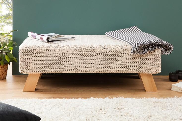 Design Hockerbank LEEDS aus Strick weiß Baumwolle Handarbeit