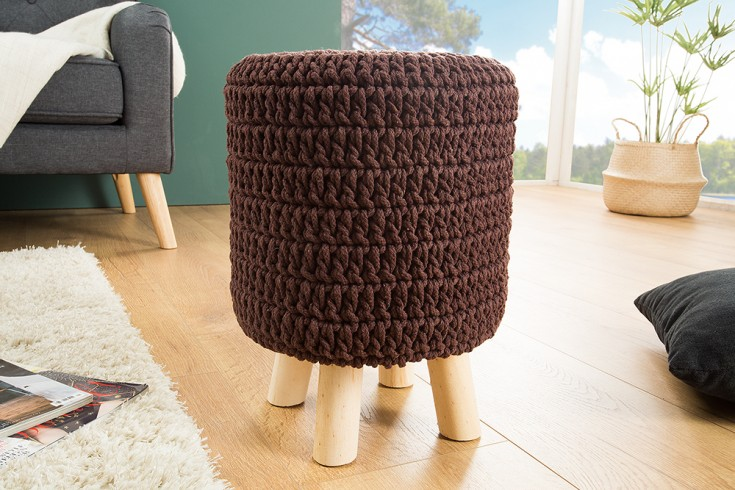 Design Sitzhocker LEEDS 41cm dark coffee aus Strick Baumwolle Handarbeit