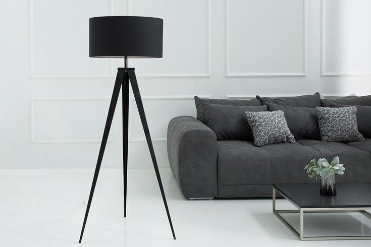 Elegante Stehleuchte TRIPOD schwarz Retrodesign