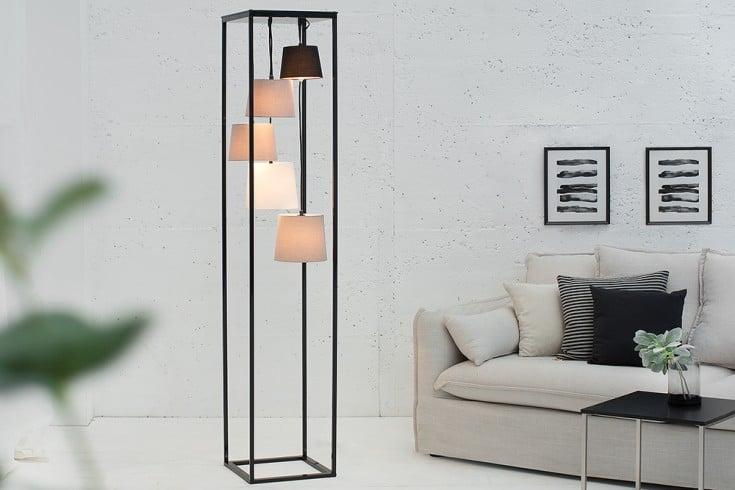 Außergewöhnliche Design Stehlampe LEVELS schwarz grau 5 Schirme
