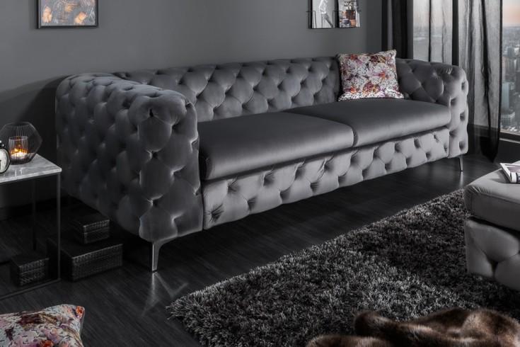 Elegantes Chesterfield 3er Sofa MODERN BAROCK 240cm grau Samt