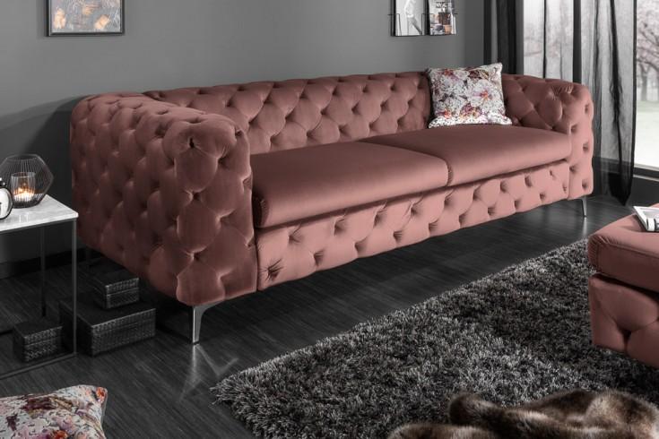 Elegantes Chesterfield 3er Sofa MODERN BAROCK 240cm altrosa Samt