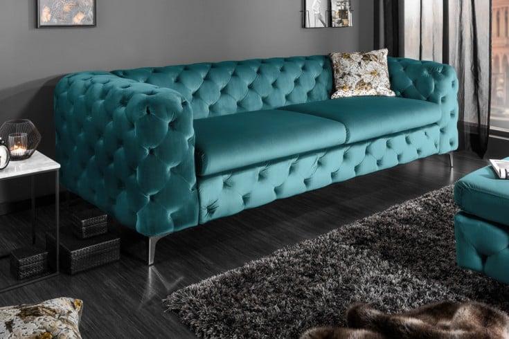 Elegantes Chesterfield 3er Sofa MODERN BAROCK 240cm aqua Samt