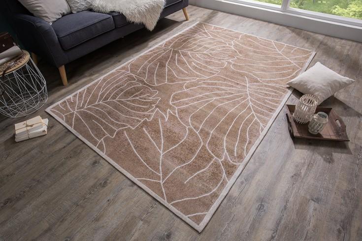 Design Teppich LEAVES 240x165cm braun Blätter Baumwolle