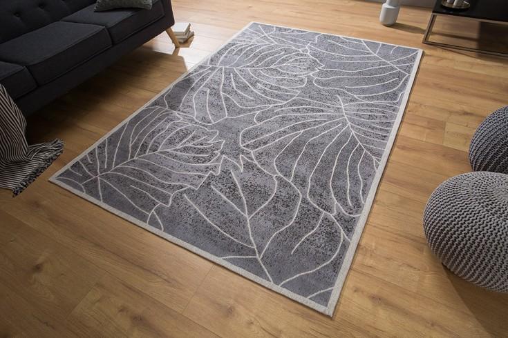 Design Teppich LEAVES 240x165cm grau Blätter Baumwolle