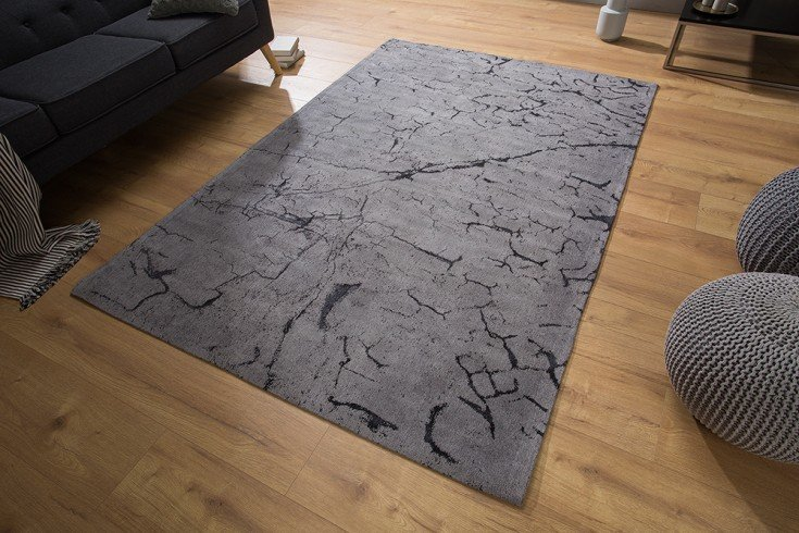 Design Teppich FIRE & EARTH 240x160cm grau Baumwolle