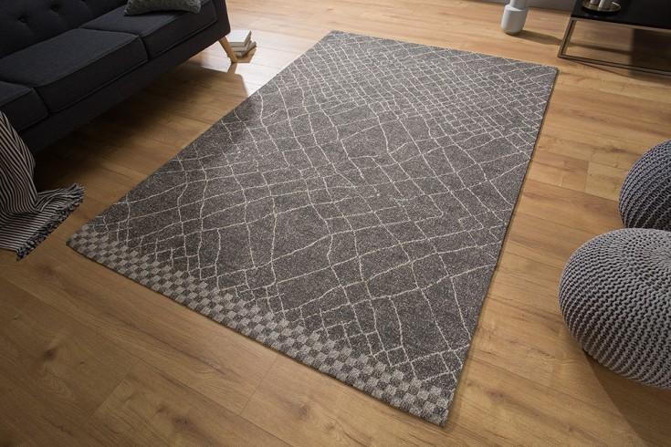 Design Wollteppich BERBER schwarz beige 160x240cm Rauten