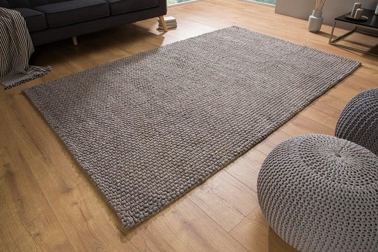 Handgearbeiteter Teppich WOOL 240x160cm anthrazit braun aus Wolle