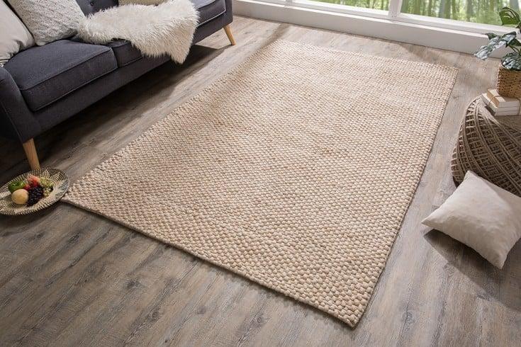 Handgearbeiteter Teppich WOOL 240x160cm beige aus Wolle
