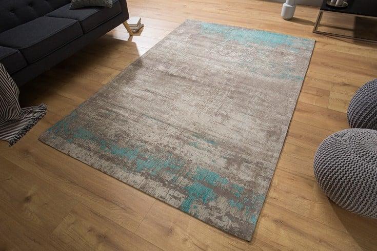 Vintage Baumwoll-Teppich MODERN ART 240x160cm blau grau verwaschen Used Look