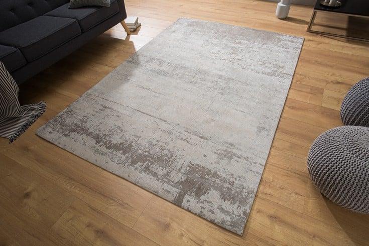 Vintage Baumwoll-Teppich MODERN ART 240x160cm beige grau verwaschen Used Look