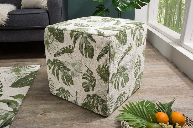 Design Sitzhocker TROPICAL 45cm grün Würfel mit Blättermuster
